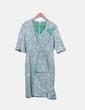 Vestido bordado floral verde combinado Atelier