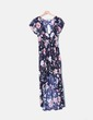 Vestido de cauda de bainha floral azul marinho Belcci