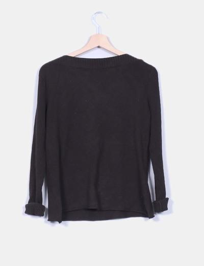 Jersey tricot marron escotebarco strass detalle