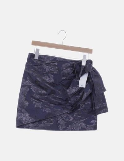 Falda mini azul marino estampado floral glitter