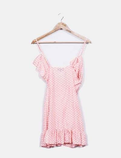 Vestido rosa claro con topos