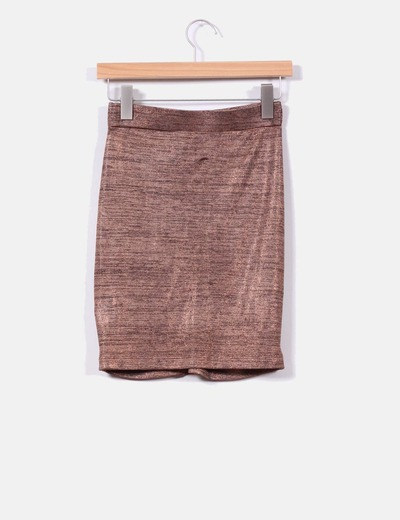 Mini falda drapeada en cobre