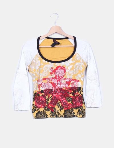 Camiseta varios estampados de manga francesa Custo Barcelona