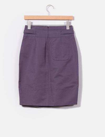 Falda color malva de tiro alto