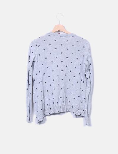 Chaqueta tricot gris con corazones