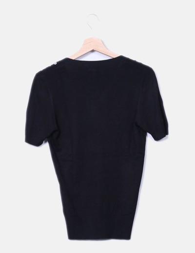 Cardigan tricot negro combinado con paillettes