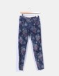 Pantalón gris estampado floral pitillo Zara