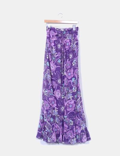 Maxi vestido morado con estampado floral Sense
