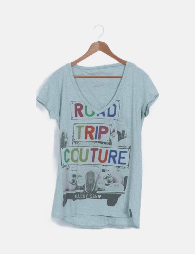 Camiseta estampada turquesa manga corta