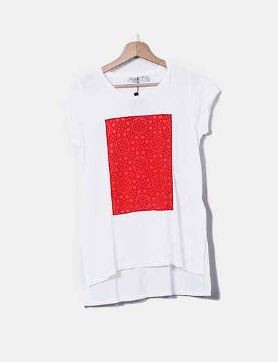78 Micolet Rojo Camiseta Dibujo descuento Cortefiel Blanca T6q1nX
