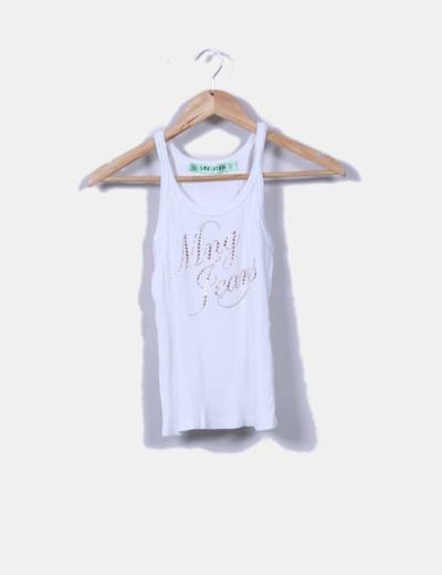 Camiseta nadadora nanalé blanco strass Mango Mango