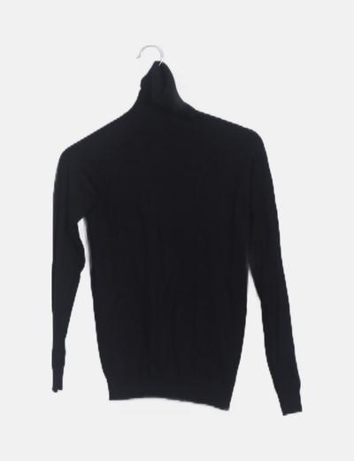 Jersey tricot negro cuello vuelto