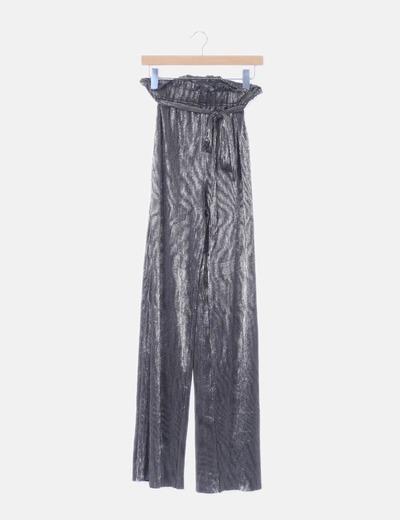 Pantalón fluido plata glitter