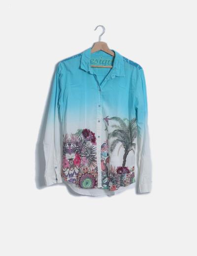 Camisa bicolor degradada estampada