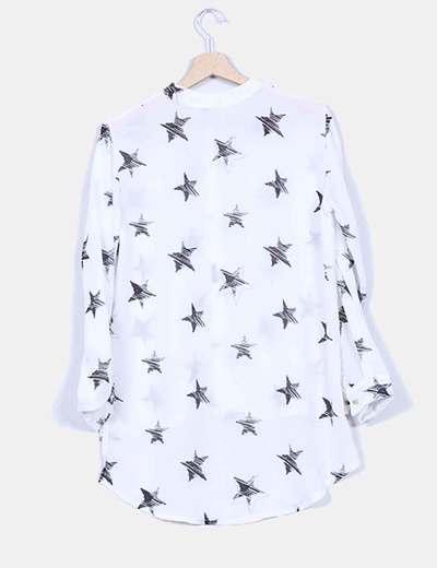 Blusa blanca semitransparente print estrellas