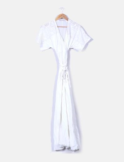precio justo mejor valor guapo Vestido blanco largo hombros crochet