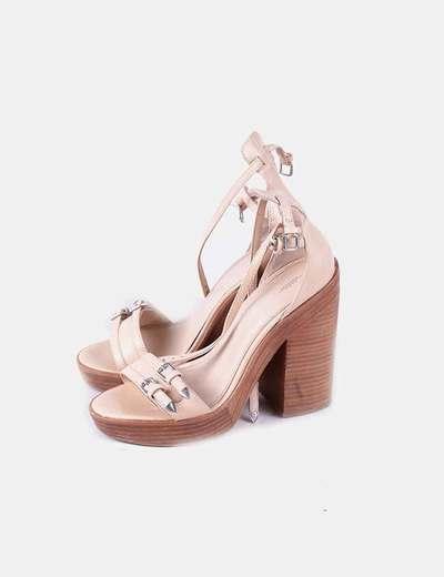 Sandales à talons beiges bois Zara