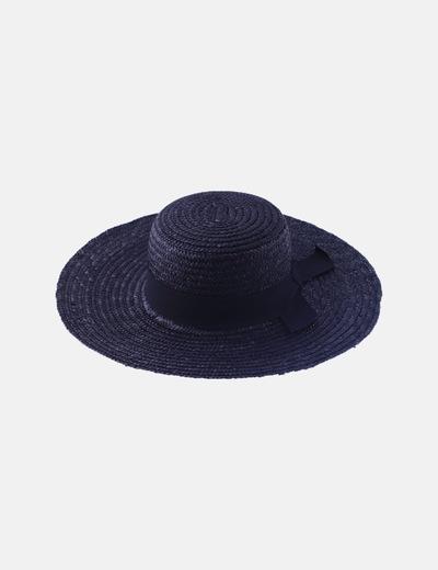 Sombrero de rafia negro