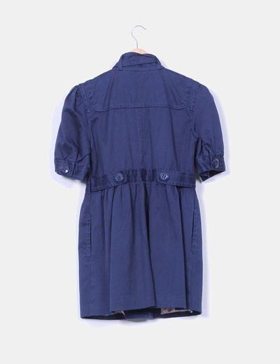 Abrigo manga corta azul marino escote lazo