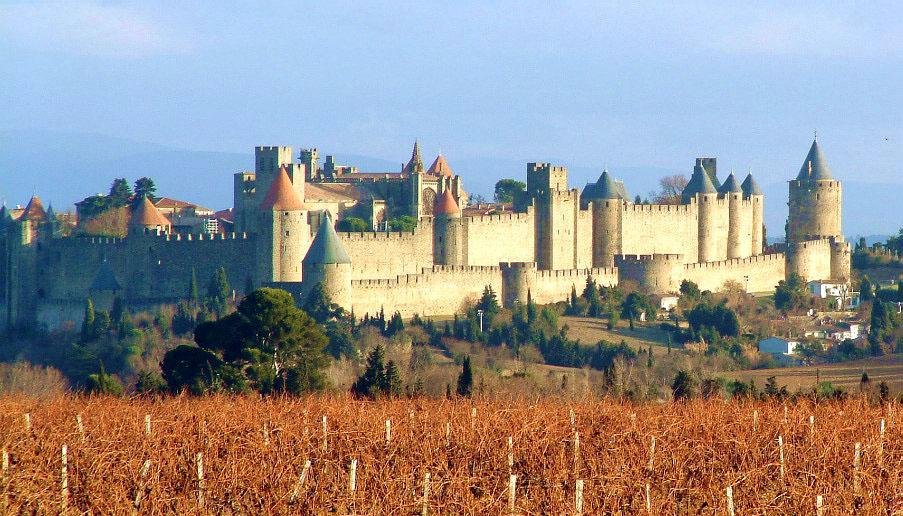 Carcassonne et les vignes environnantes