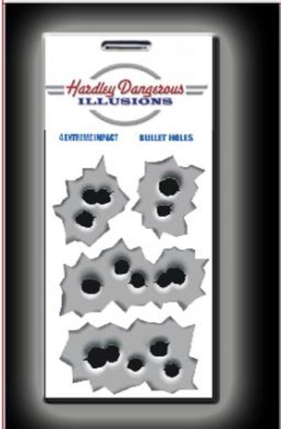 Hardley Dangerous Rapid Fire Bullet Holes Sticker