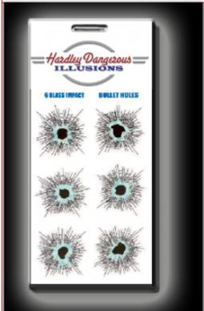 Hardley Dangerous Glass Impact Bullet Holes Sticker