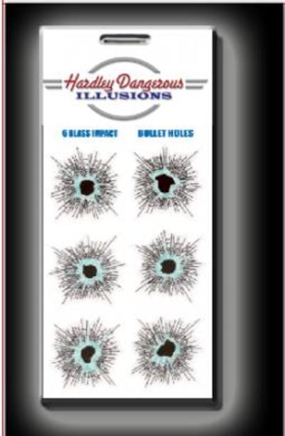 Hardley Dangerous Glass Impact Bullet Holes Sticker