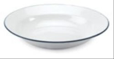 White Enamelware 22cms Deep Plate