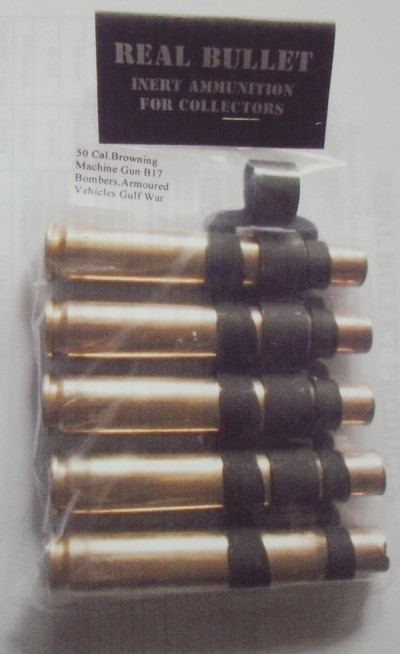 50 cal browning 5pk inert bullet belt no bullet tips