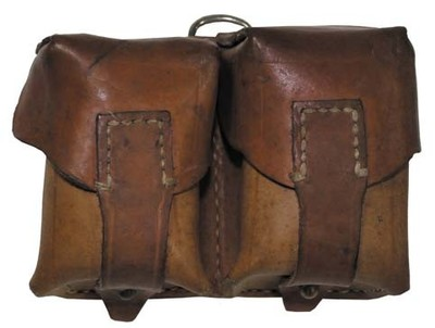Double leather belt pouch