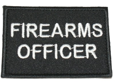 Firearms officer black velcro patch / badge