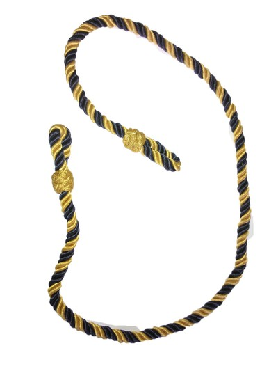 Gold/Yellow & Navy Blue No. 2 Dress lanyard