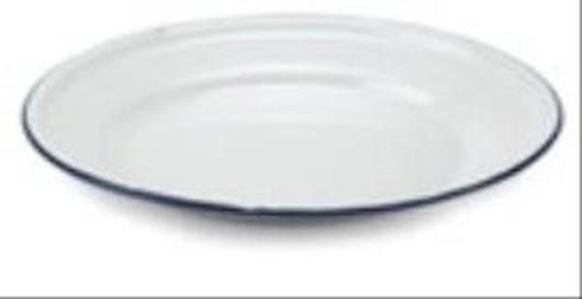 White Enamelware 22cm Flat Plate