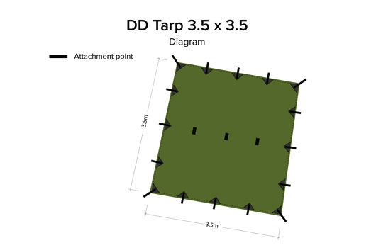 DD Hammocks 3.5 x 3.5 Tarp - Olive Green