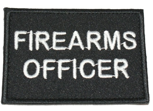 Firearms officer black velcro patch  badge