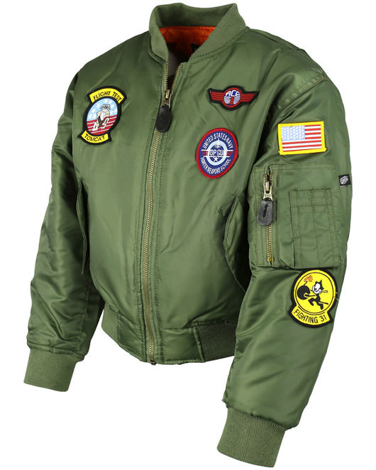 Kids MA1 Olive Flight Jacket