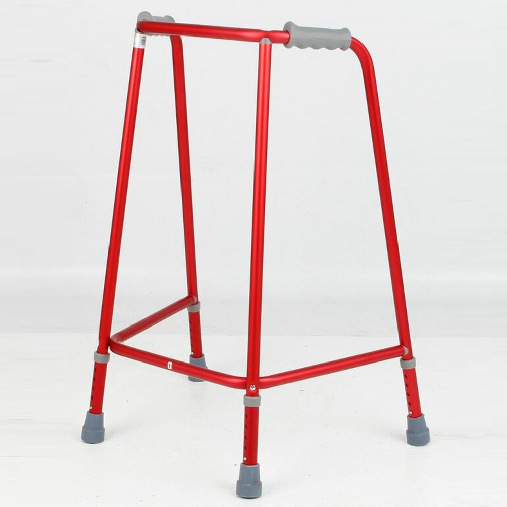 Days Red Adjustable Height Walking Frame No Wheels