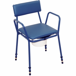 Essex Stacking Compact Commode Chair Adjustable Height Aidapt Blue