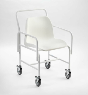 "Mobile Shower Chair (white plastic seat 4 break castors) Adj. Height 20""-25"""