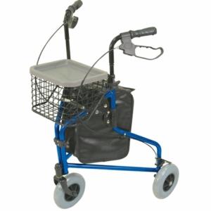 Aidapt Aluminium Tri Walker With Bag Basket & Tray - Blue