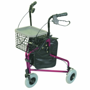 Aidapt Aluminium Tri Walker With Bag Basket & Tray - Red