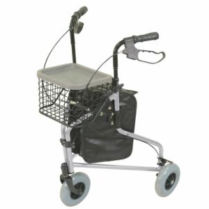Aidapt Aluminium Tri Walker With Bag Basket & Tray - Silver