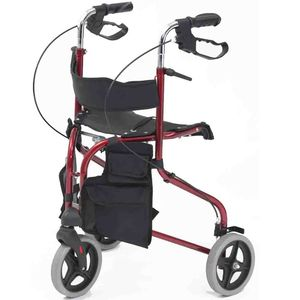 Drive DeVilbiss Lightweight Tri Walker TW017 with Seat - Red