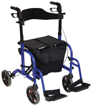 Aidapt Duo Deluxe Rollator and Transit Chair in One Blue - VP184BLUE