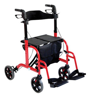 Aidapt Duo Deluxe Rollator and Transit Chair in One Red - VP184RED
