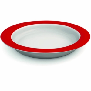 Ornamin Plate With Sloped Base - 26cm - Red/White