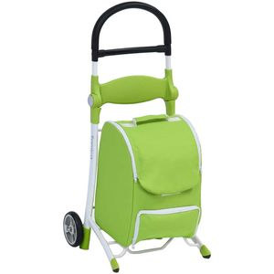 Shop and Sit Shopping Trolley with Seat Green and White - STS010GW
