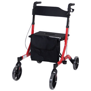 Aidapt Deluxe Ultra Lightweight Folding 4 Wheeled Rollator - VP183RED