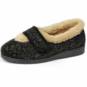 Sandpiper Ladies Slippers - Selina Black.Sparkle