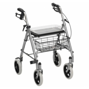 SR8 Folding 4 Wheeled Safety Rollator Walking Frame Seat Tray Basket WA006SIL
